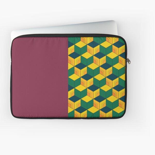 Giyu's Half Solid Half Geometric Traditional Japanese Kimono Pattern Laptop Sleeve