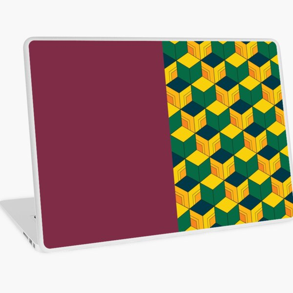 Giyu's Half Solid Half Geometric Traditional Japanese Kimono Pattern Laptop Skin