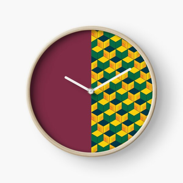 Giyu's Half Solid Half Geometric Traditional Japanese Kimono Pattern Clock