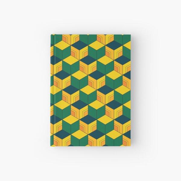 Traditional Japanese Geometric Kimono pattern, Half-Solid Half-Geometric Pattern, Japanese Haori Pattern Hardcover Journal