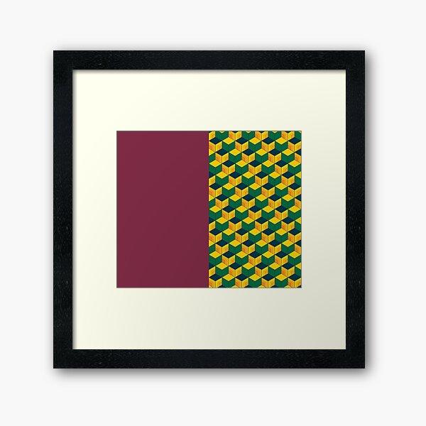 Giyu's Half Solid Half Geometric Traditional Japanese Kimono Pattern Framed Art Print
