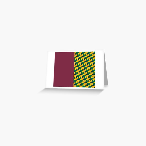 Giyu's Half Solid Half Geometric Traditional Japanese Kimono Pattern Greeting Card