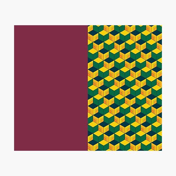 Giyu's Half Solid Half Geometric Traditional Japanese Kimono Pattern Photographic Print