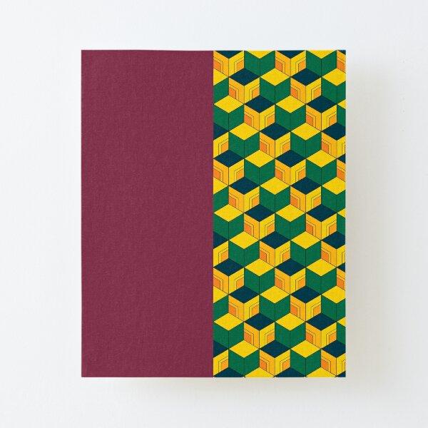 Traditional Japanese Geometric Kimono pattern, Half-Solid Half-Geometric Pattern, Japanese Haori Pattern Canvas Mounted Print