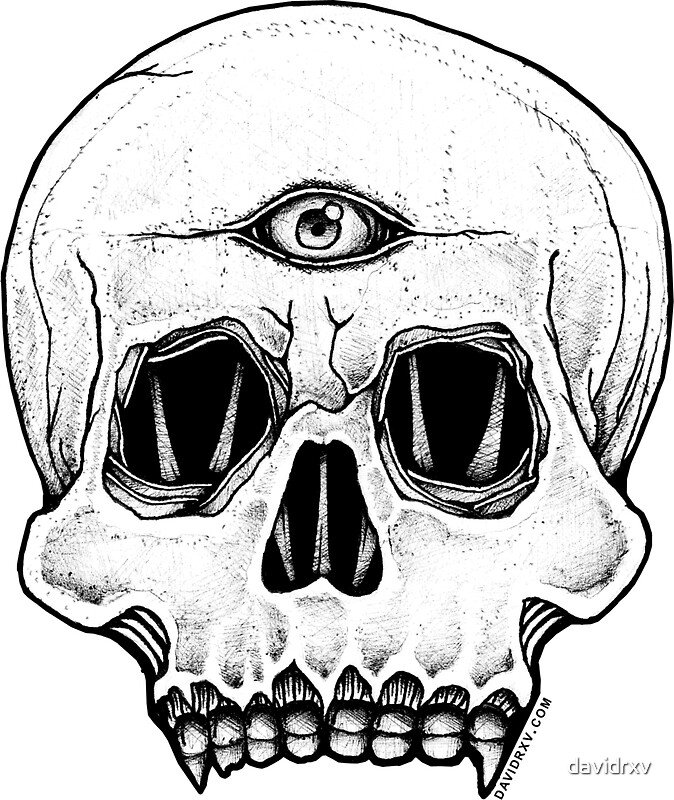 Third eye skull sticker by davidrxv