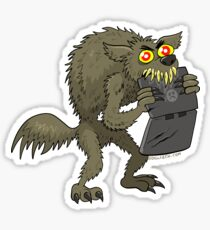 A Werewolf Chewing on a Laptop Sticker