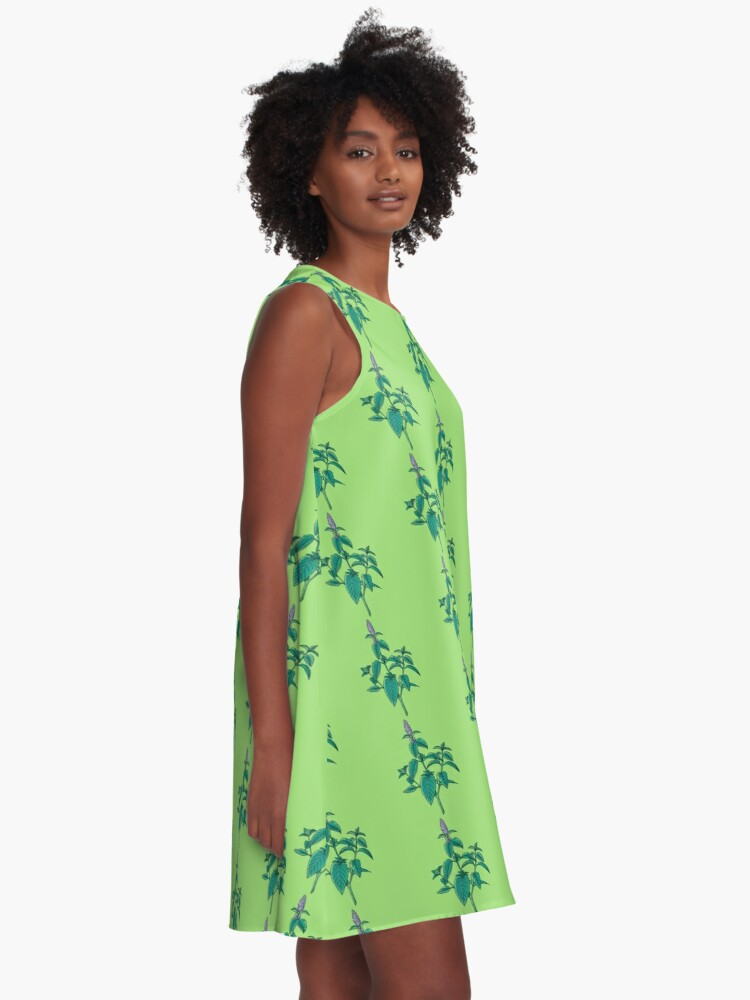 Alternate view of green mint plant with purple flowers A-Line Dress