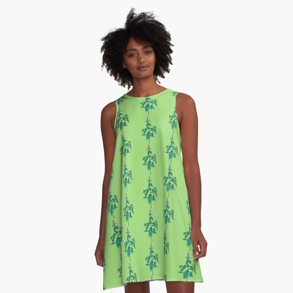 green mint plant with purple flowers A-Line Dress