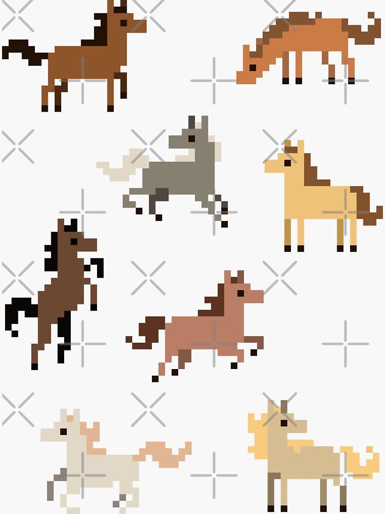 8 Mini Pixel Pferd Aufkleber von pixelatedcowboy