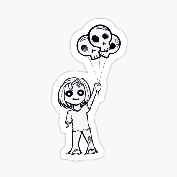 """Cute Zombie with Skulloons"" Sticker"
