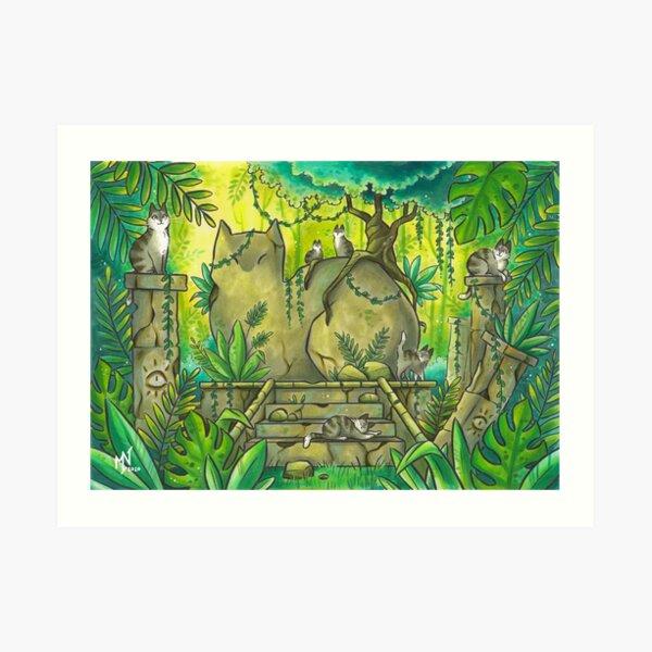 Jungle Cat Ruins Art Print