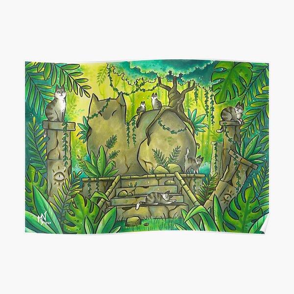 Jungle Cat Ruins Poster