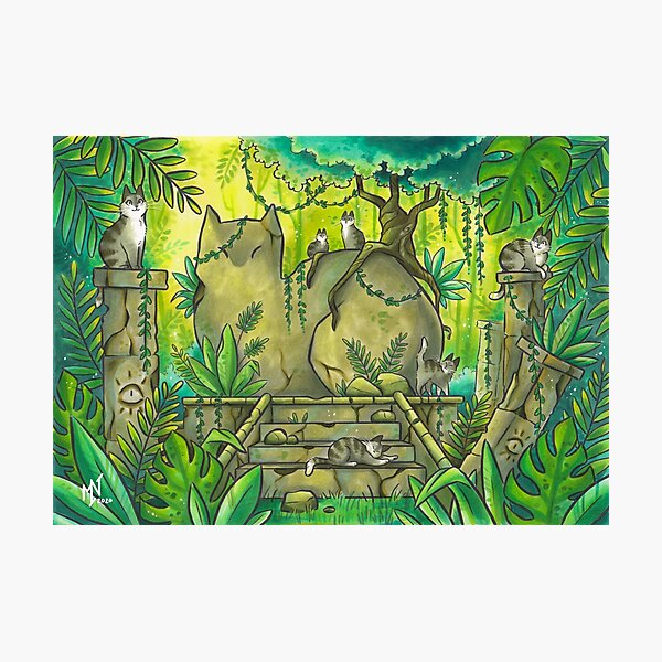 Jungle Cat Ruins Photographic Print