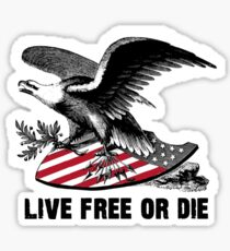 New Hampshire Live Free or Die Eagle & Shield Sticker