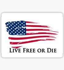 American Flag Live Free or Die Freedom New Hampshire Sticker