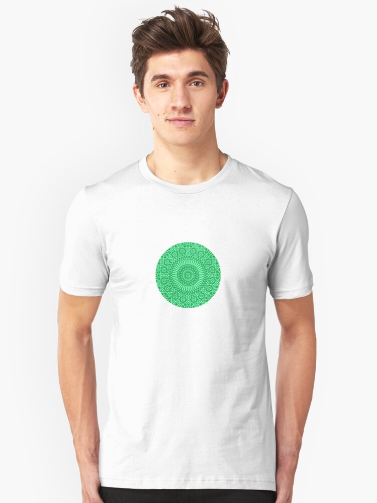 small green chakra mosaic circle girly Unisex T-Shirt Front