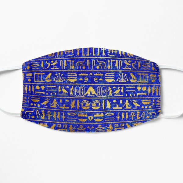 Blue Lapis and Gold Hieroglyphics Mask Mask