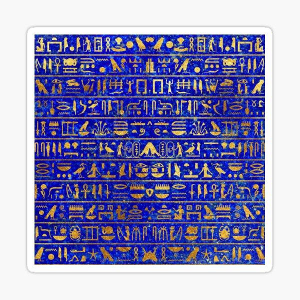 Blue Lapis and Gold Hieroglyphics Mask Sticker
