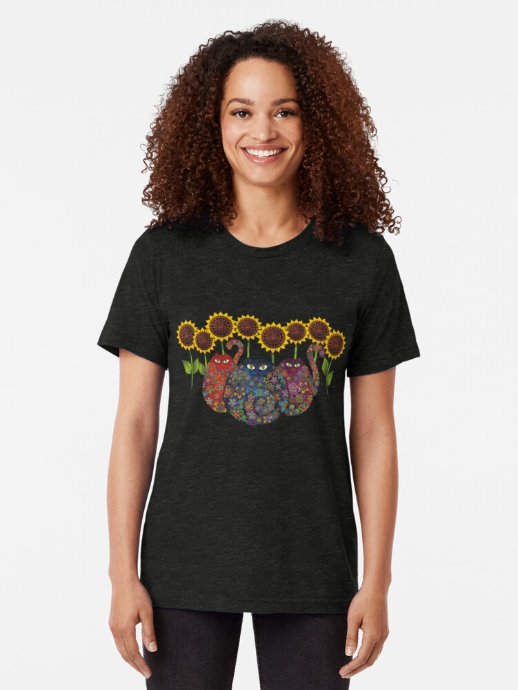 Alternate view of Cats With Sunflowers Tri-blend T-Shirt