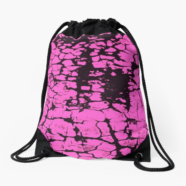 candy pink crackle glaze Drawstring Bag