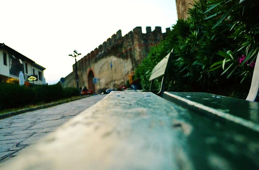 Green Benches near the castles of Thessaloniki by AxelAtticus