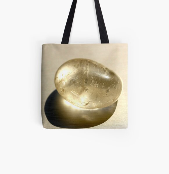 Quartz crystal in white on silver background  All Over Print Tote Bag