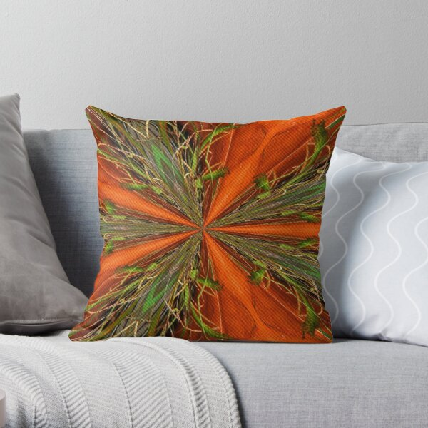 Abstract Orange And Green Design Throw Pillow