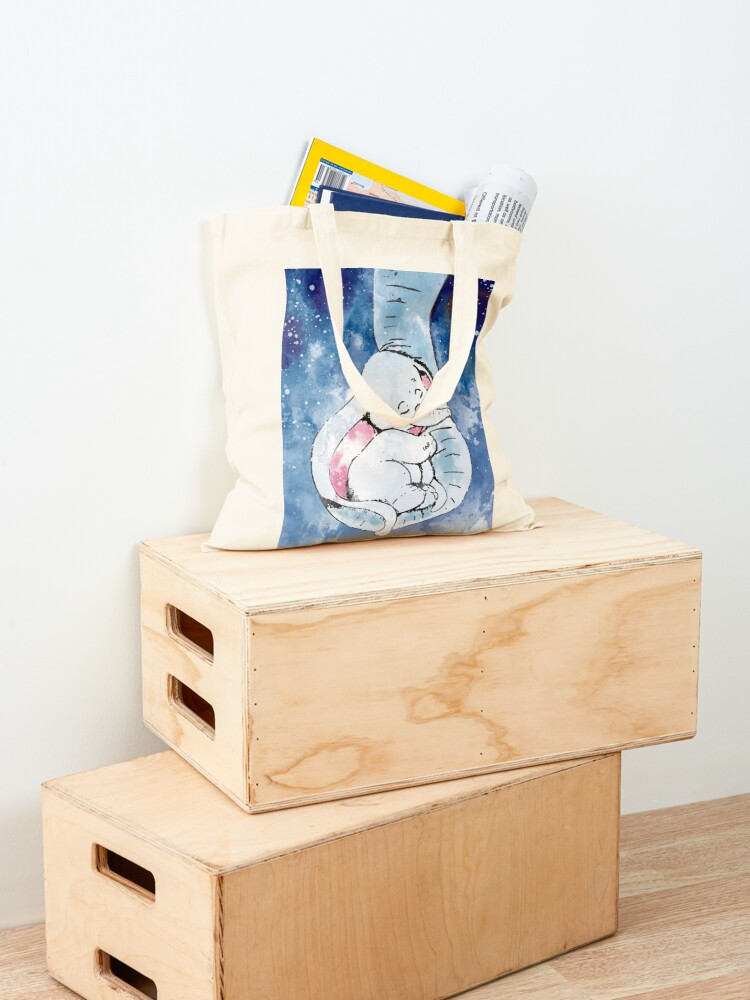 Alternate view of Dumbo and his mother, Mother and baby elephant Tote Bag