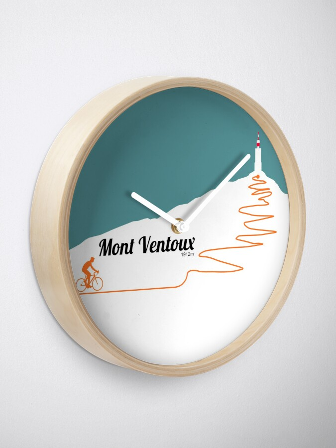 Alternate view of Mont Ventoux Cycling Artwork Clock