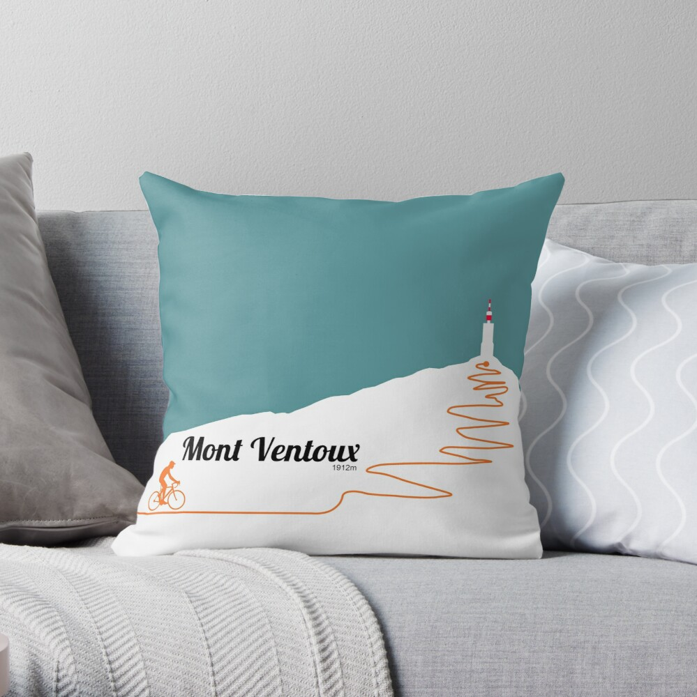 Mont Ventoux Cycling Artwork Throw Pillow