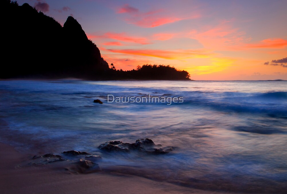 Tunnels Beach Sunset by DawsonImages