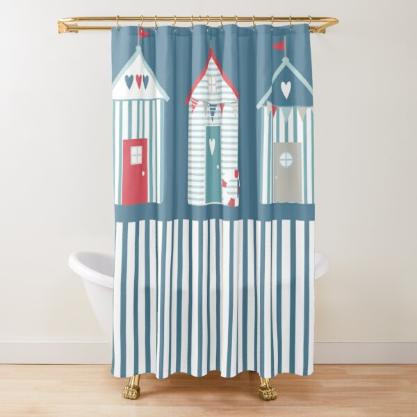 By The Sea Beach Huts Shower Curtain