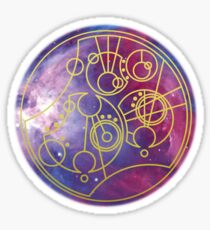 'Gallifrey Falls No More.' in Gallifreyan - Gold (bright nebula background) Sticker