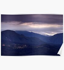 Alpine village at sunrise Poster