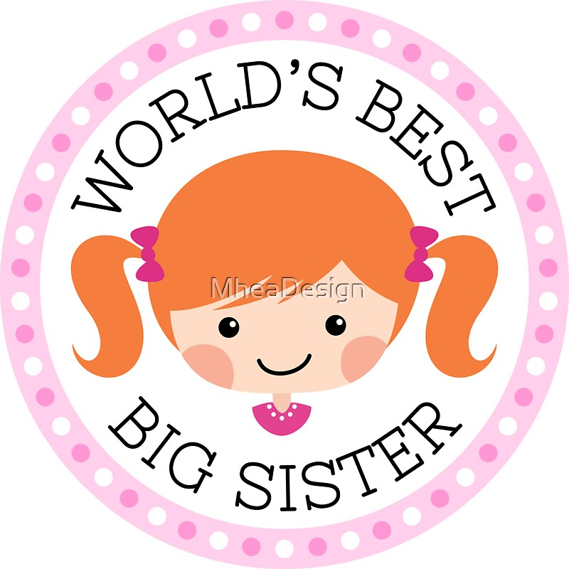 Worlds best big sister round sticker cartoon girl with red hair by mheadesign