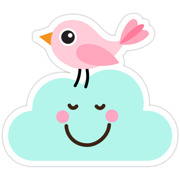 Quot Cute Pink Bird On Happy Cloud Stickers Quot Stickers By