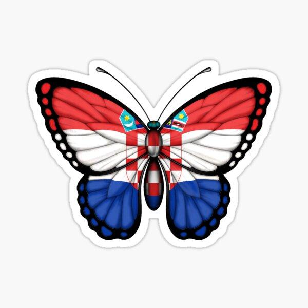 Croatian Flag Butterfly Sticker