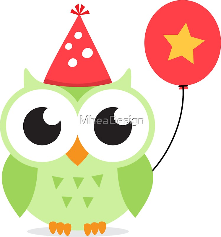 Cute green party owl with balloon sticker by mheadesign