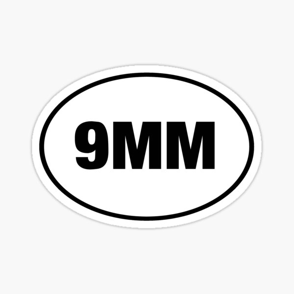9MM Oval Pistol Sticker Shirt Poster Card Sticker
