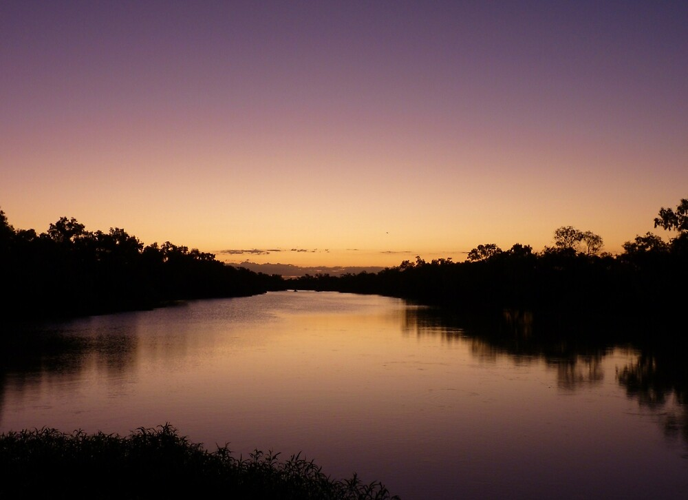 Sunset over the Thompson River, Longreach by Sue Downey