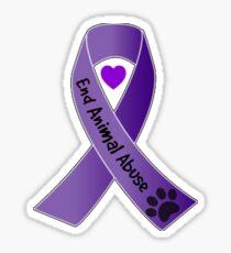 End Animal Abuse Ribbon Sticker