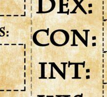 Blank RPG Character Sheet Sticker