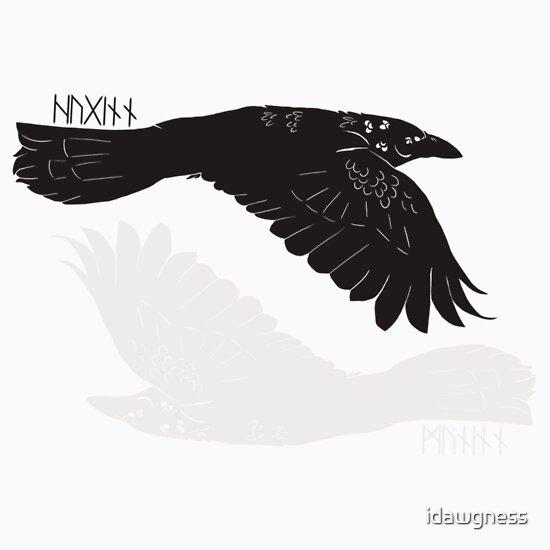 huginn and muninn with runes unisex t shirt a t shirt of birds