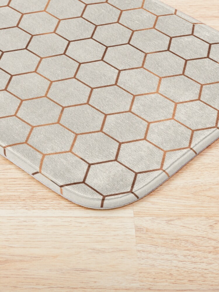 Alternate view of Rose gold copper honeycomb Bath Mat