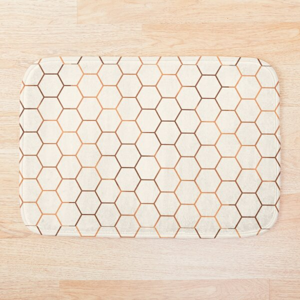 Rose gold copper honeycomb Bath Mat