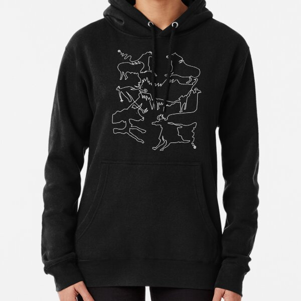 Paleolithic One Line Drawing 02: Lascaux Pullover Hoodie