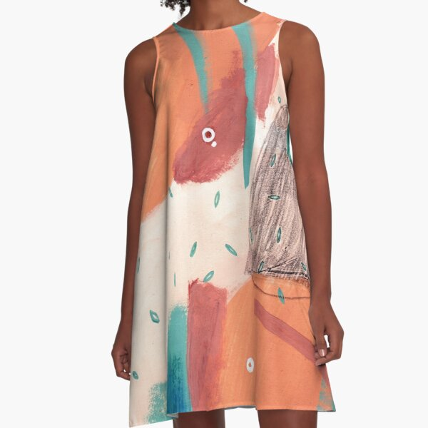 Peachy Abstraction No.3 A-Line Dress