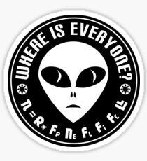 Astronomy Nerd Drake Equation - Fermi Paradox - Where are the Aliens Sticker