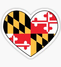 maryland flag heart - loved as sticker, now available in leggings and skirt Sticker