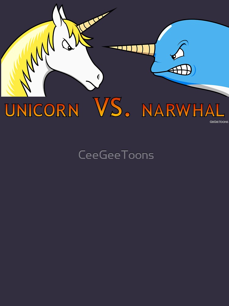Unicorn Vs. Narwhal by CeeGeeToons